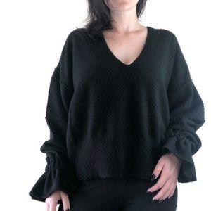 Wildfox black v-neck ruffled wrist sweater medium